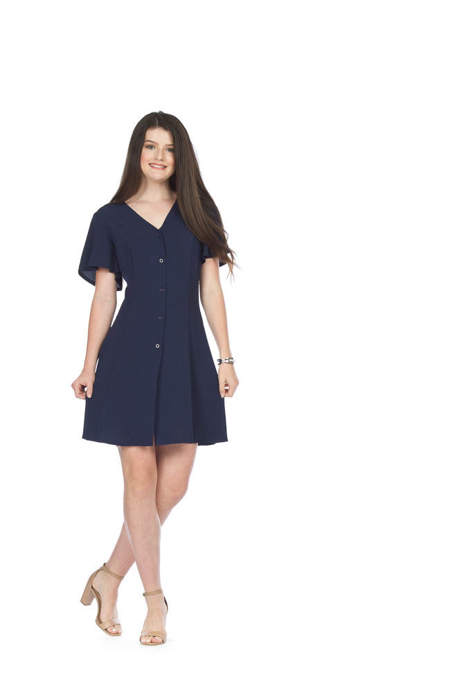Papillon PD05551 Navy Button Front Fit N Flare Dress