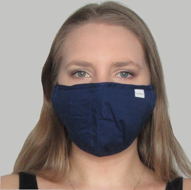 Adult Navy Cotton Mask with Adjustable Ear Pieces