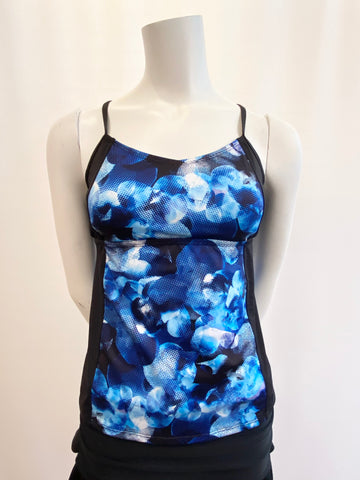 ROOTS Tankini Black with Blue Floral Print