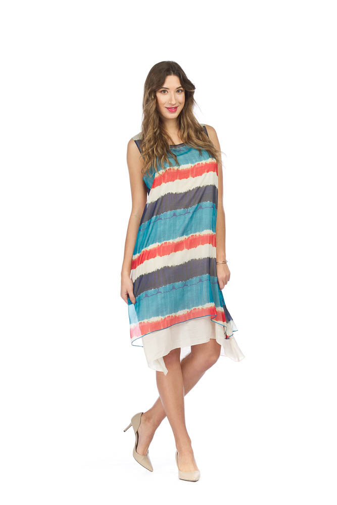 Papillon PD05606 Dress with Striped Overlay
