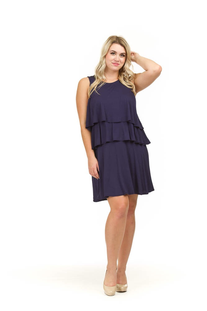 SALE Papillon PD01618 Navy Layered Jersey Dress