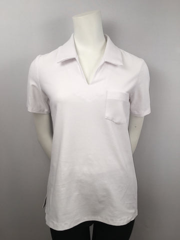 SALE CRYSTAL White Collared T-Shirt