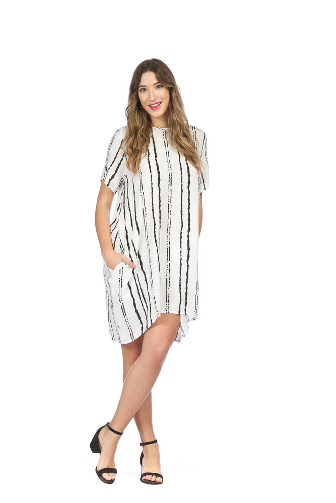 Papillon PD05608 Broken Stripe Dress with Pockets