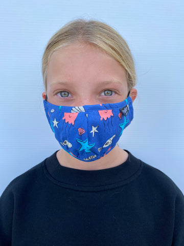 Youth Ocean Print Cotton Mask with Adjustable Ear Pieces