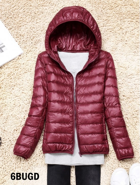 Women's Down filled Jacket in Burgundy