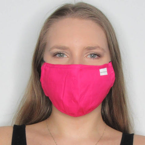 Adult Fuchsia Cotton Mask with Adjustable Ear Pieces