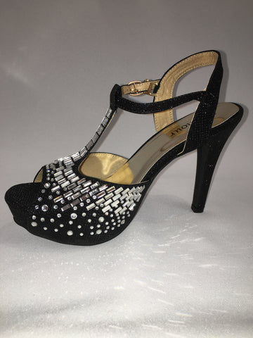 Black Heels with Centre Strap and Bling Detail