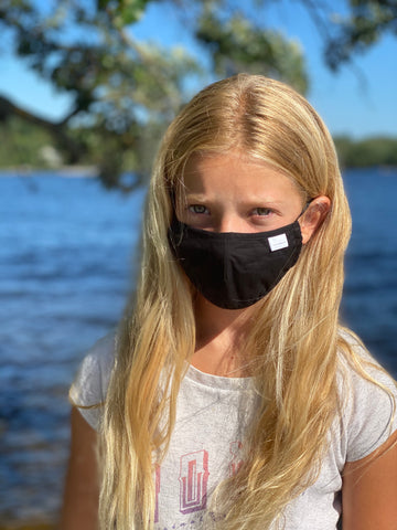 Youth Black Cotton Mask with Adjustable Ear Pieces