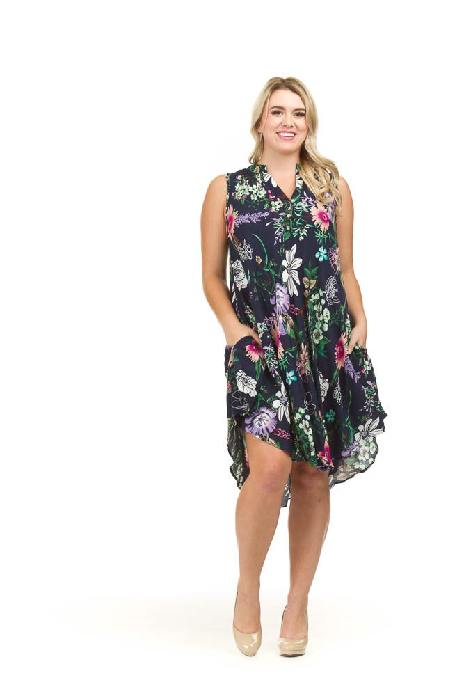 Papillon PD03716 Floral Henley Dress with Pockets