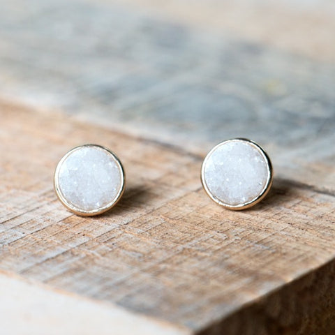 Rose Gold Studs with white crystal