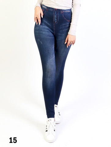 Fleece Lined Legging Med Denim Wash