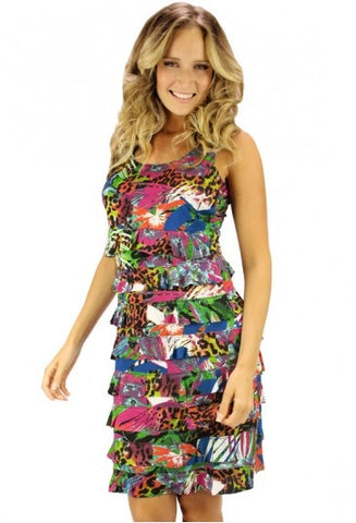 Tango Mango Animal & Floral Ruffle Dress