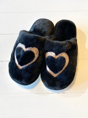 Women's Black Slipper with Heart