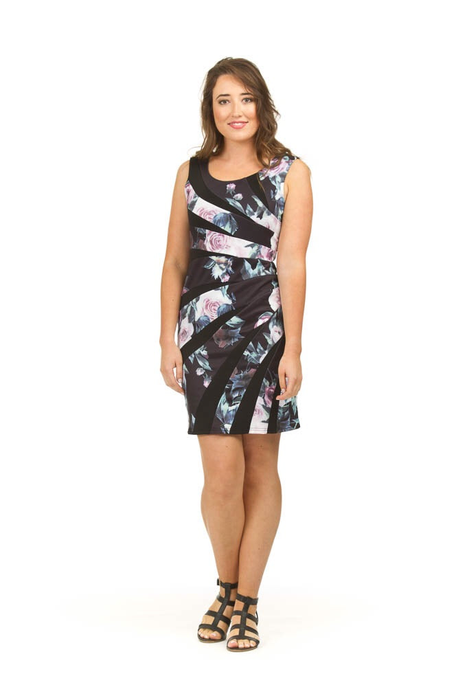 Papillon PD03510 Rose Print Stretchy Dress