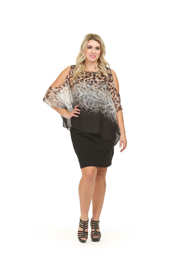 SALE Papillon PD03514 Dress with Leopard Overlay