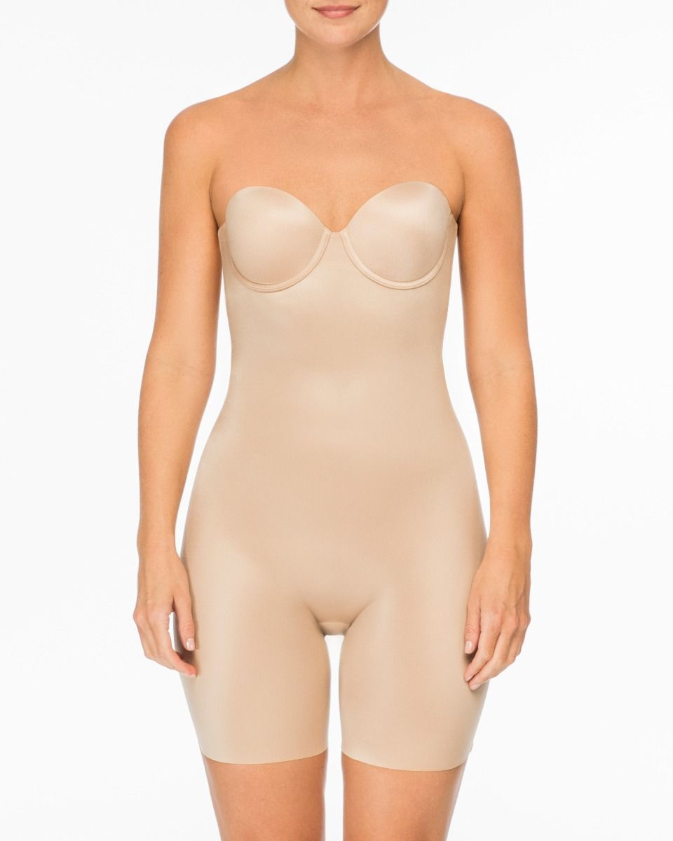 SPANX Suit Your Fancy Strapless Cupped Mid-Thigh Bodysuit