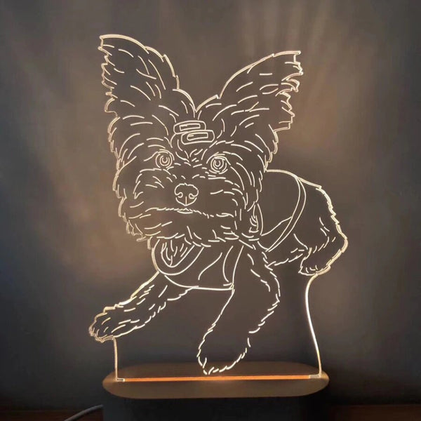 Custom made photo lamp of a dog