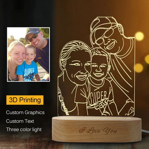 3D night light | Custom made photo lamp| Personalized photo lamp family