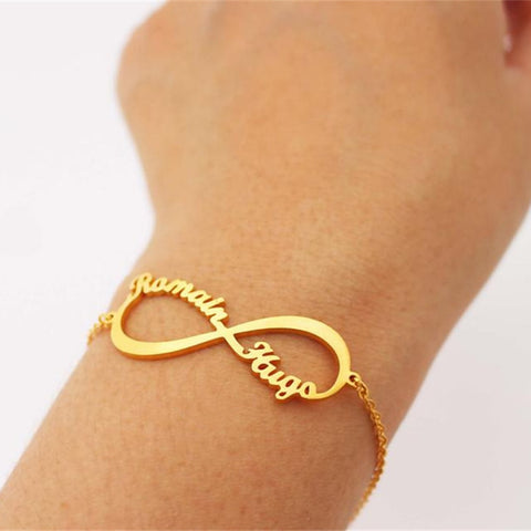 gold infinity custom made name couple bracelet