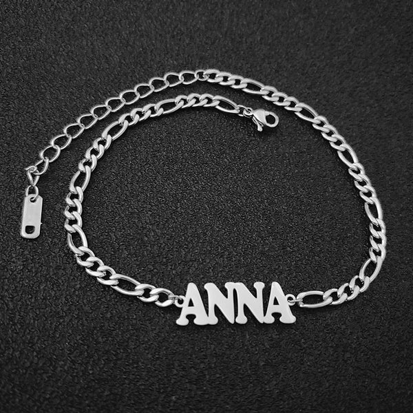 GOLD CUSTOM MADE PERSONALIZED NAME YEAR ANKLET JEWELERY