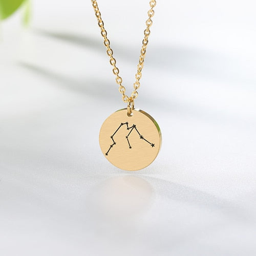 Twelve Constellations Zodiac Sign Necklace