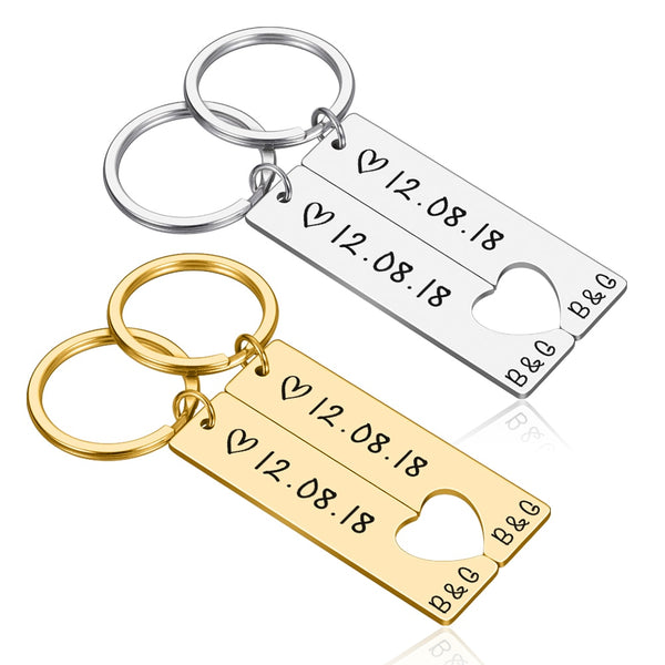 Custom Couple Keychain Set | Custom Initial Keychain for couples | Engraved INitial Key gift for couple chain for couple Personalized Gold engraved couple initial keychain