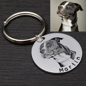 Photo dog tag keychain | Custom Dog Tag | Memorial Dog Tag necklace | Dog name tag custom made