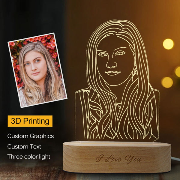 3D Night Light with Wooden Base