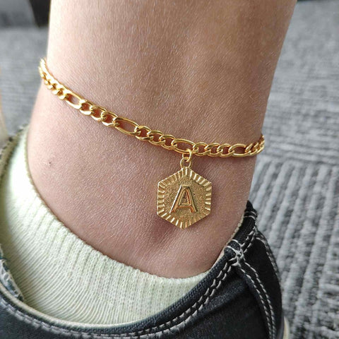 Custom Gold Anklet | Custom Initial Anklet | Custom Gold Name Anklet