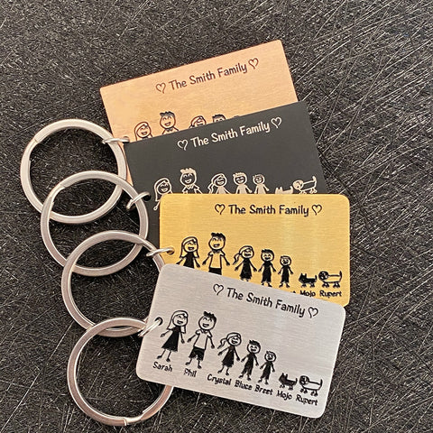 Engraved Family Keychain | Family Custom Gift | Engraved family keychain | Unique Family Gift | CHristmas family gift