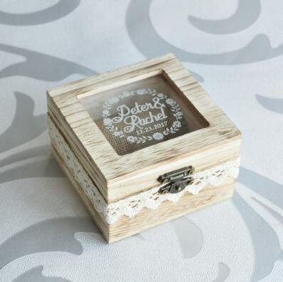custom made wedding ring box | Wooden wedding ring box personalized