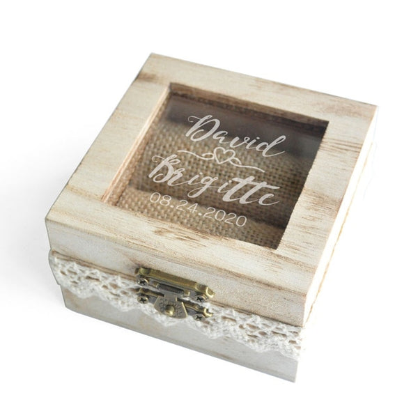 custom made wedding ring box | Wooden wedding ring box personalized | Engraved wedding ring box