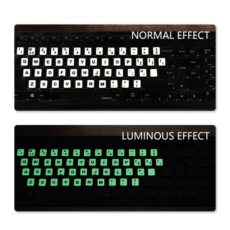 NEO STAR Clear and Luminous Keyboard Stickers Russian/Spanish/ English/French/German/Korean Letter Protective Cover for Laptop