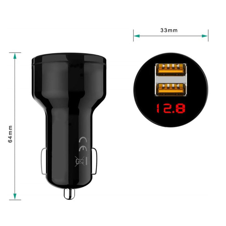 12V/24V Dual Ports 3.1A USB Car Cigarette Charger Lighter Digital LED Voltmeter Power Adapter for Mobile Phone Tablet GPS