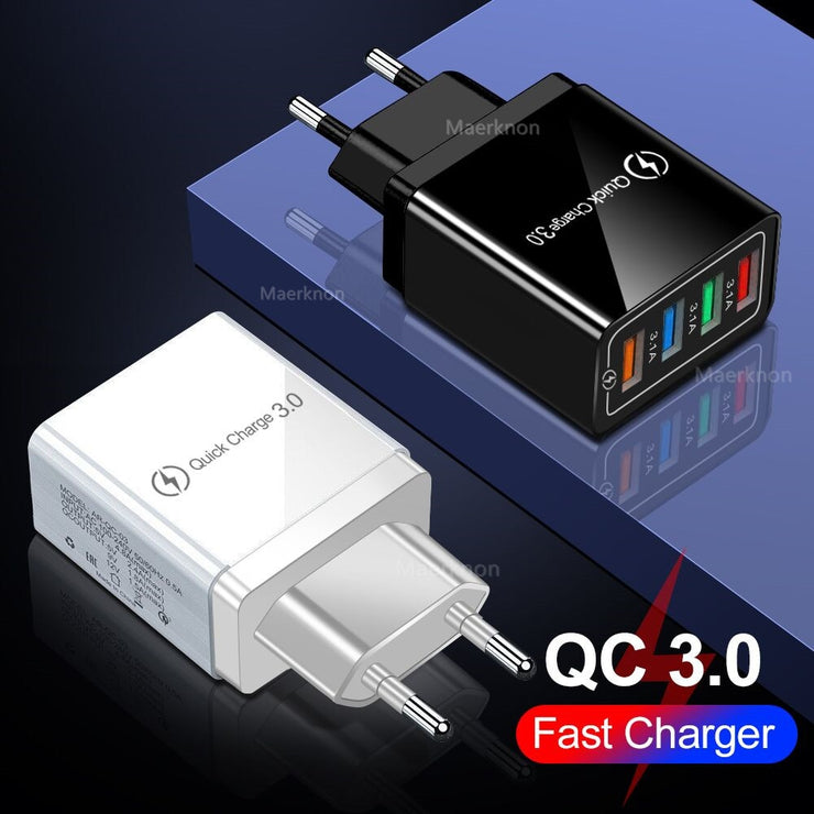 USB Charger Quick Charge 4.0 3.0 3.1A Fast Charging Power Adapter Charger For Samsung iPhone 11 7 X 4 Ports Mobile Phone Charger