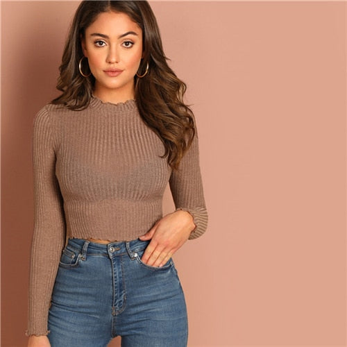 COLROVIE Solid Lettuce Trim Solid Sexy Knit Crop Top For Women Basic Shirt 2019 Spring Korean Long Sleeve Elegant Ladies Shirts