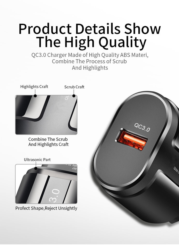 3A Quick Charge 3.0 USB Charger For iPhone 11 Pro 8 EU Wall Mobile Phone Charger Adapter QC3.0 Fast Charging For Samsung Xiaomi