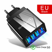 Quick Charger 3.0 USB Charger for Samsung A50 A51 iPhone 7 8 Xiaomi mi9 Tablet QC 3.0 Fast Wall Charger US EU UK Plug Adapter