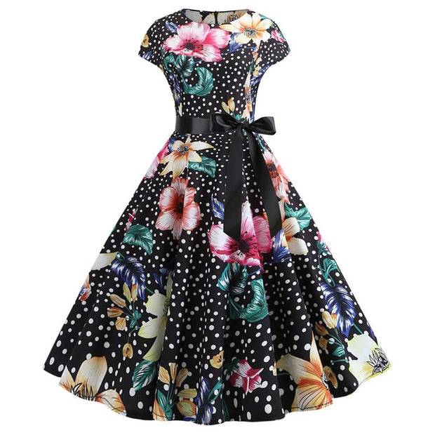 2020 Women Summer Dress Vintage Floral Print Rockabilly Dress Robe Femme Sundress Vestidos Plus Size Polka Dot Party Dress