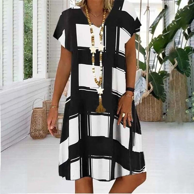 Summer Lattice Print Casual Dress Women's V-neck Short Sleeve Vintage Dresses For Women Plus Size Beach Boho Loose Midi Dress