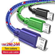 Nylon Braided Micro USB Cable 1m/2m/3m Data Sync USB Charger Cable For Samsung HTC Huawei Xiaomi Tablet Android USB Phone Cables