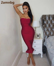 2020 Women's Fashion Sexy Bandage Dress Party Strapless Bodycon Fishtail Knitted Dress Autumn Mermaid Christmas Dress Vestido