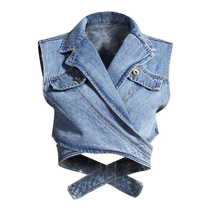 DEAT Women Blue Denim Single Breasted New Lapel Long Puff Sleeve Shirt Fashion Tide Autumn Two Pieces Top 2020 1Z595