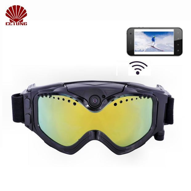 1080P HD Ski-Sunglass Goggles WIFI Sports Camera Colorful Double Anti-Fog Lens for Ski with Free APP Live Image Video Monitoring