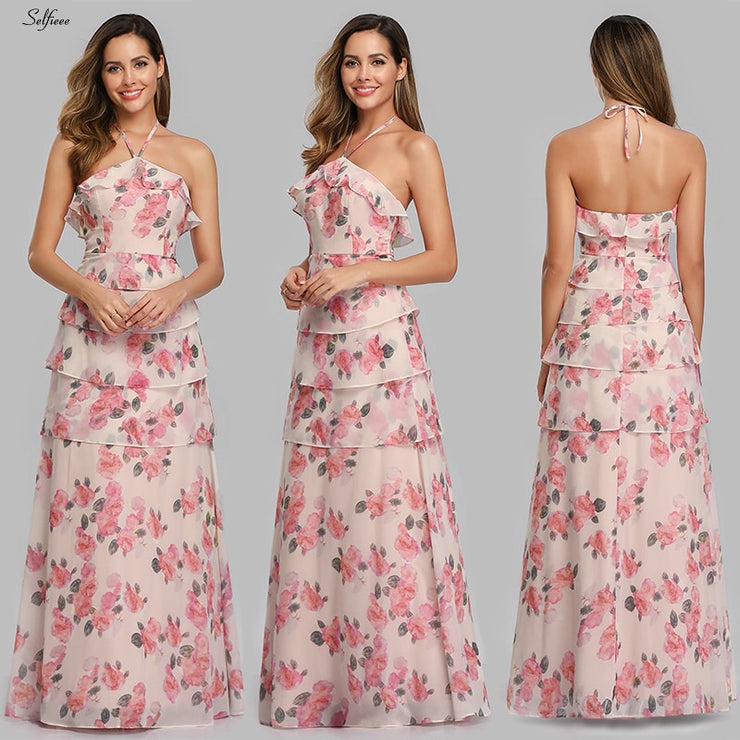 Casual Floral Printed Maxi Dress A-Line Ruffles Spaghetti Straps Chiffon Women Dress Ladies Simple Beach Party Dress Vestidos