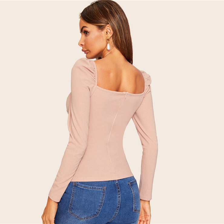 SHEIN Sexy Zip Back Puff Sleeve Slim Fitted Wrap Sweetheart Neck Blouse Women Solid Top Spring Club High Street Blouses