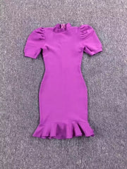 High Quality Black Purple Short Sleeve Ruffles Rayon Bandage Dress Elegant Club Party Dress Vestidos