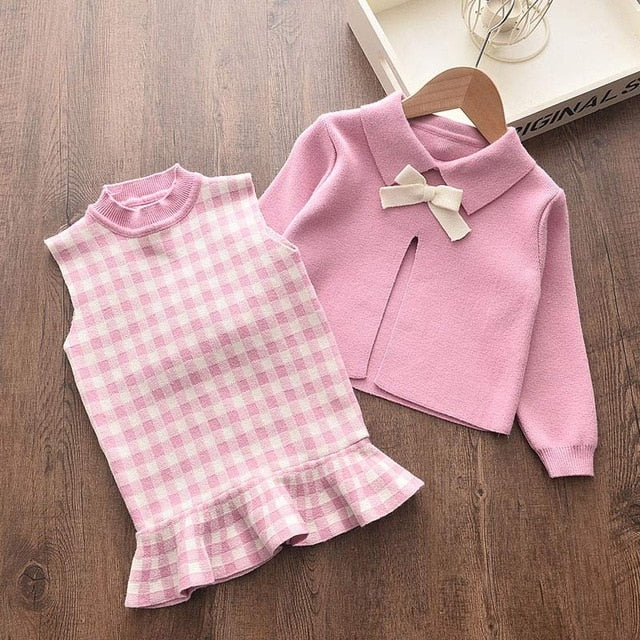 Bear Leader Baby Girls Clothes Set Autumn Winter Cartoon Grape Clothing Set New Kids Knitted Sweet Outfit Children Clothes Suit
