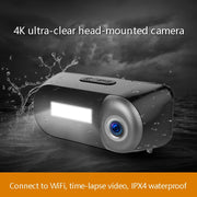 Outdoor Sports Camera with head light lamp Waterproof Head-Mounted Sports Video Camera 1080P for Field Work Recording