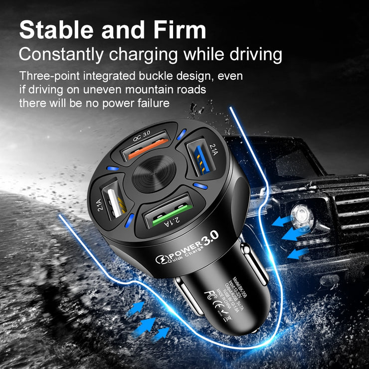 4 USB Car Charger QC 3.0 Car Fast Charger for Xiaomi Redmi mi 9 Samsung S10 S9 For iPhone xr 11 Pro Max Chargers quick charge